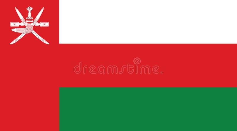 Oman flaga, sułtanat Oman ilustracja wektor