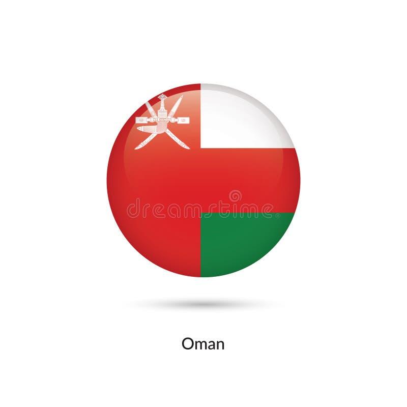 Oman flagga - rund glansig knapp vektor illustrationer