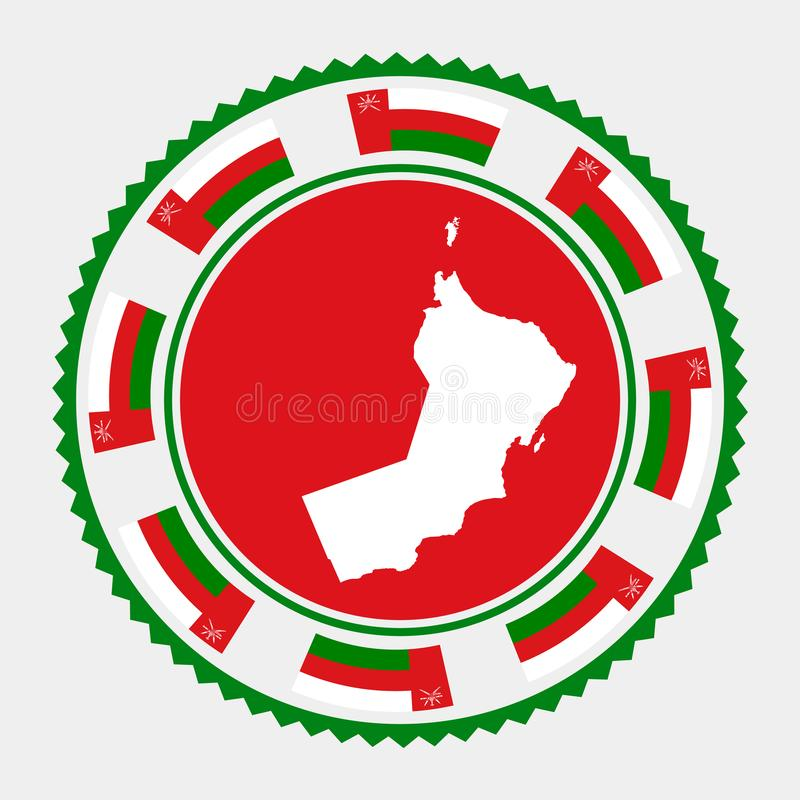 Oman flat stamp. Round logo with map and flag of Oman. Vector illustration stock illustration