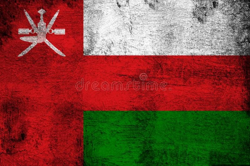 Oman. Grunge and dirty flag illustration. Perfect for background or texture purposes royalty free illustration