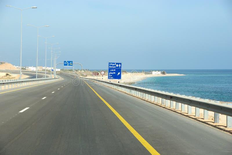 Oman huvudväg fotografering för bildbyråer