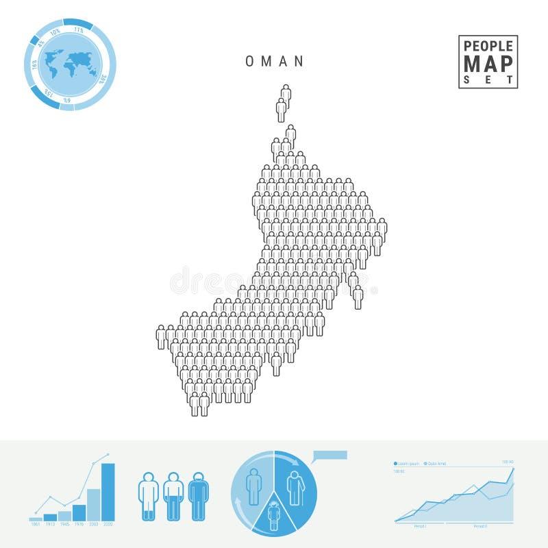 Oman-Leute-Ikonen-Karte Stilisiertes Vektor-Schattenbild von Oman Bevölkerungszuwachs und Altern Infographics lizenzfreie abbildung