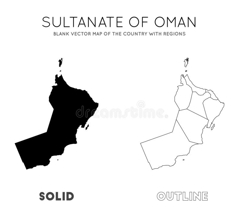 Oman map. Blank vector map of the Country with regions. Borders of Oman for your infographic. Vector illustration vector illustration