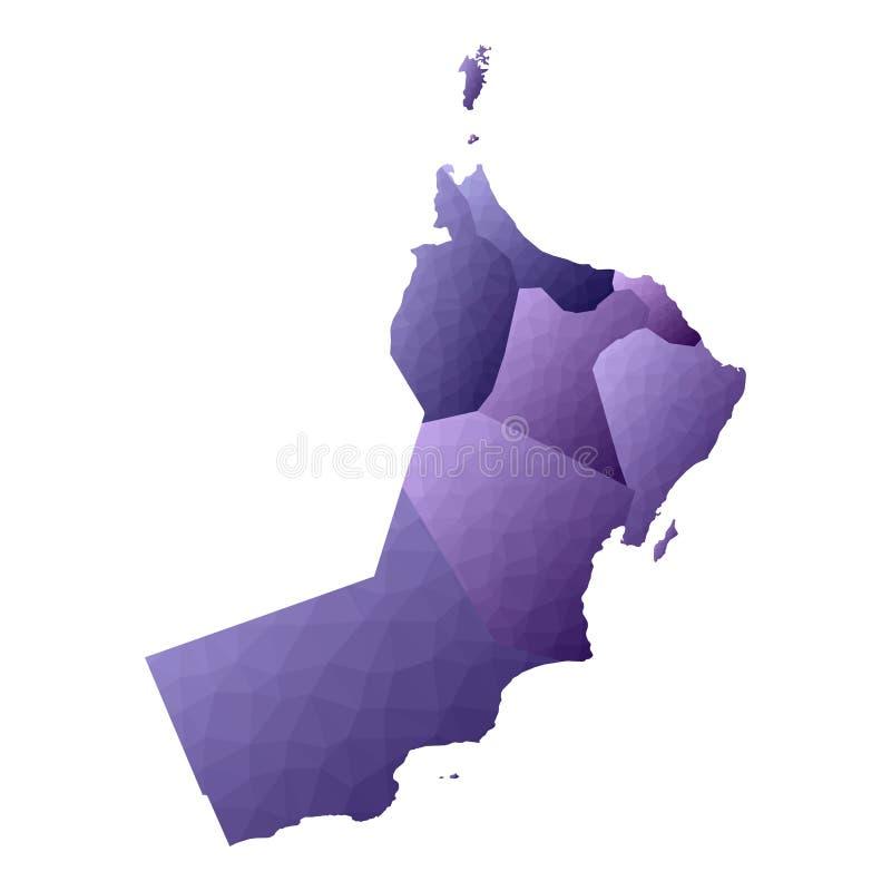 Oman map. Geometric style country outline. Divine violet vector illustration stock illustration