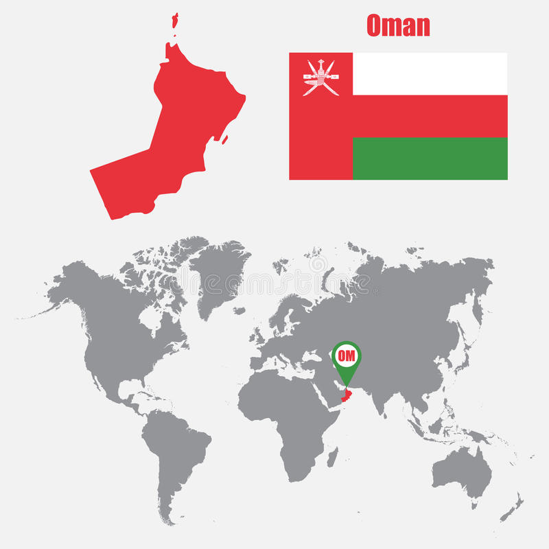 Oman Map On A World Map With Flag And Map Pointer Vector - Oman map download