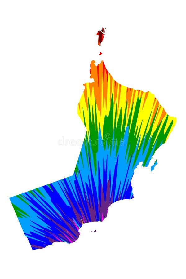 Oman - mapa jest projektującym tęczy abstrakcjonistycznym kolorowym wzorem, sułtanat robić koloru wybuch Oman mapa ilustracji