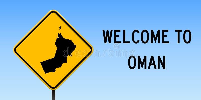 Oman mapa na drogowym znaku royalty ilustracja