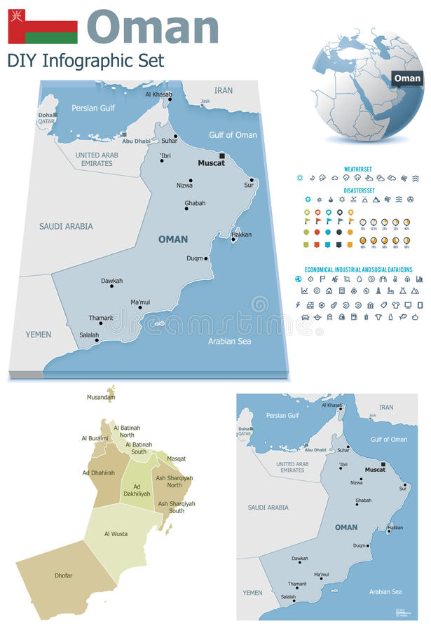 Oman maps with markers. Set of the political Oman maps, markers and symbols for infographic vector illustration