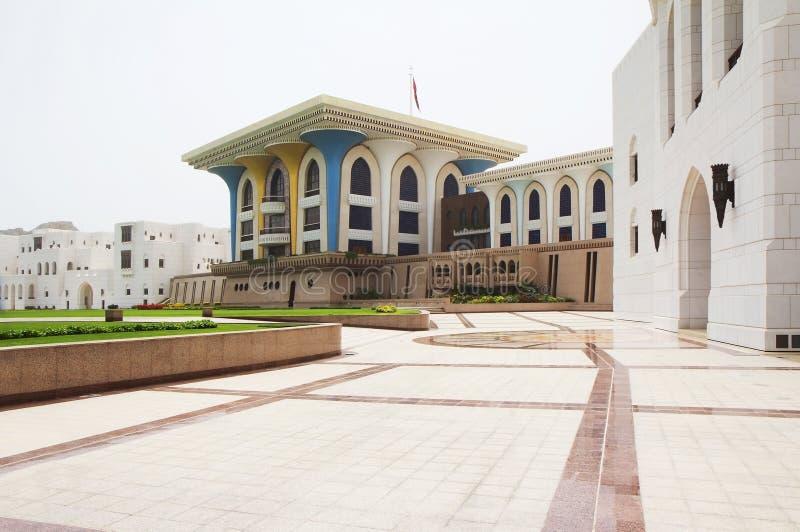 Oman. Muscat. Al Alam Palace. royaltyfria bilder