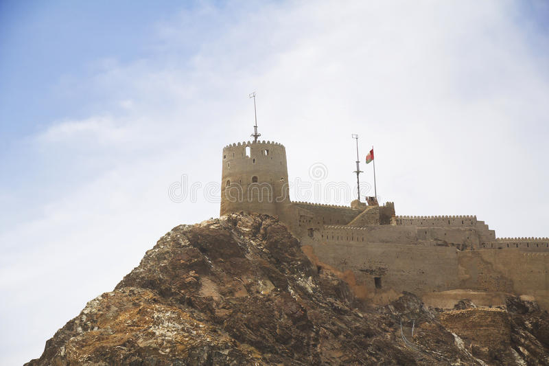 Oman. Muscat. Fort Al-Jalali. At the entrance to the port of Muscat are 2 impressive fortress: al-Jalali Fort on the East and the fortress of al-Mirani in the royalty free stock image