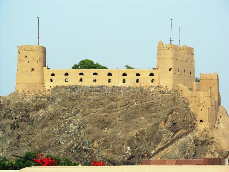 Oman Muscat: Portugisisk fortal-Jalali för århundrade XVI arkivfoto