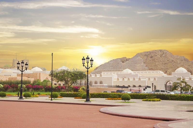 oman muscat Uppehållet av Sultan Qaboos arkivfoto