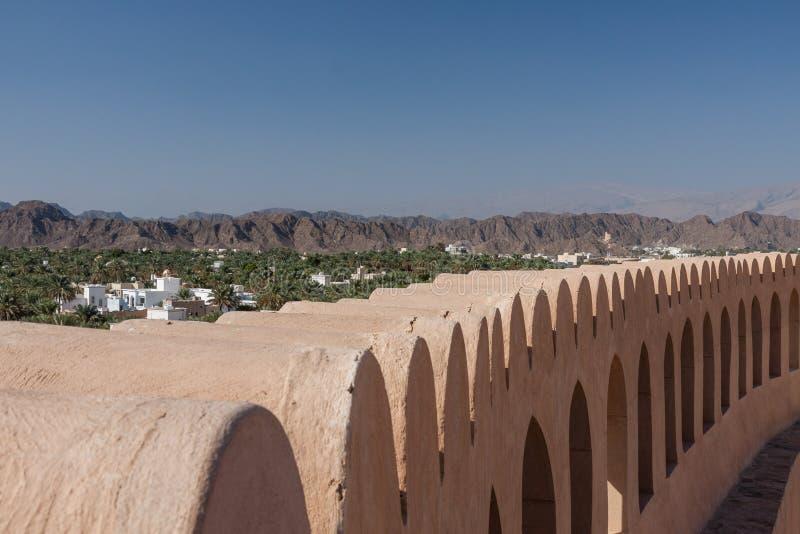 Oman Nizwa Castle Mountain view stock photo
