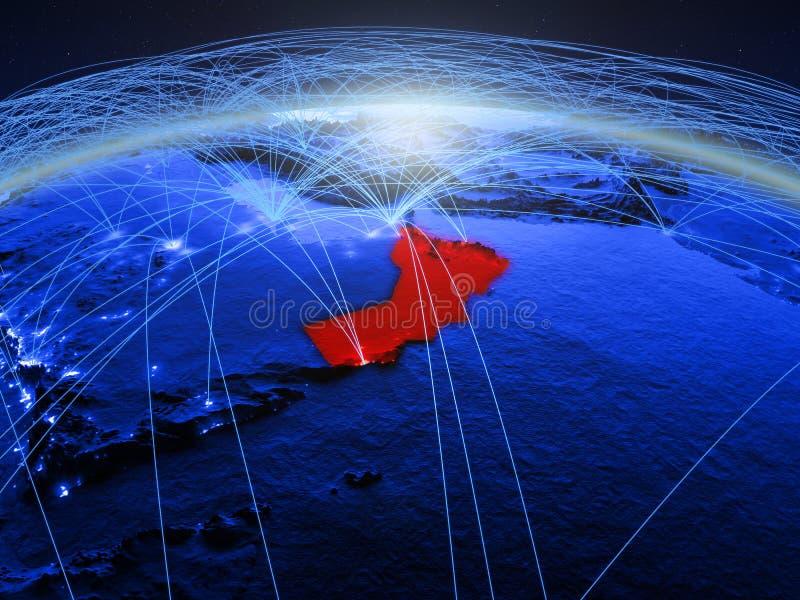 Oman op blauwe digitale aarde met internationaal netwerk die mededeling, reis en verbindingen vertegenwoordigen 3D Illustratie royalty-vrije stock afbeeldingen