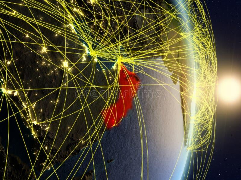 Oman op genetwerkte aarde stock afbeeldingen