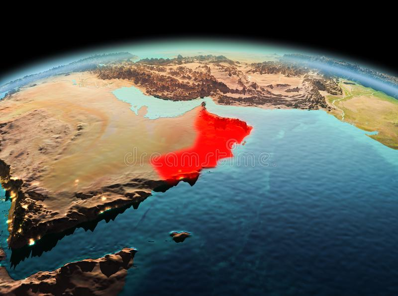 Oman on planet Earth in space. Morning above Oman highlighted in red on model of planet Earth in space. 3D illustration. Elements of this image furnished by NASA royalty free stock image