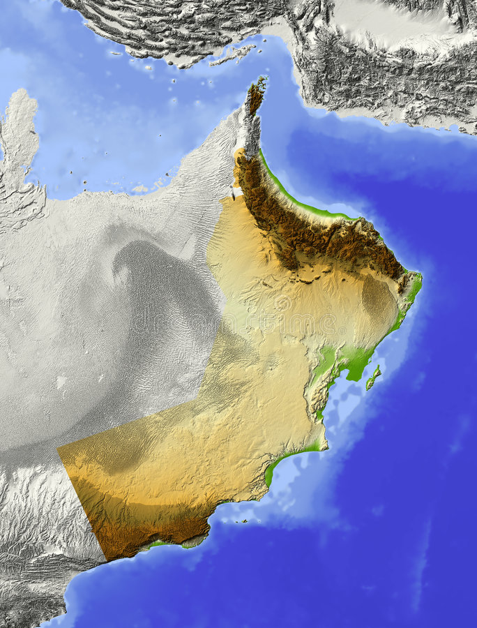 Oman, relief map. Oman. Shaded relief map. Surrounding territory greyed out. Colored according to elevation. Includes clip path for the state area vector illustration