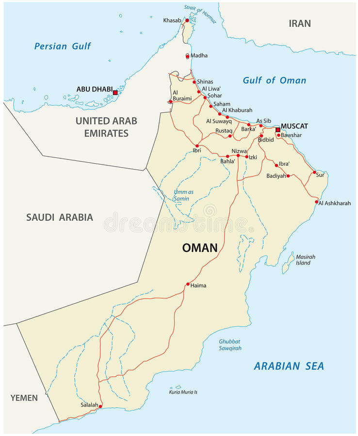 Oman road map. Road map of the Sultanate of Oman vector illustration