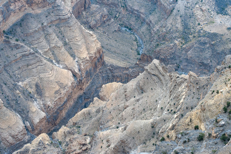 Oman`s Grand Canyon. Wadi Ghul or Ghul, Oman`s Grand Canyon, near the top of the Jebel Shams mountain, Sultanate of Oman stock photo