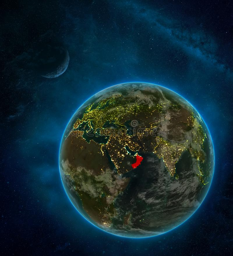 Oman from space on Earth at night surrounded by space with Moon and Milky Way. Detailed planet with city lights and clouds. 3D. Illustration. Elements of this royalty free illustration