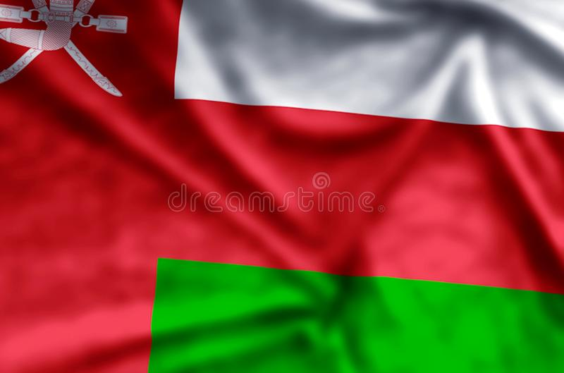 Oman. Stylish waving and closeup flag illustration. Perfect for background or texture purposes royalty free illustration
