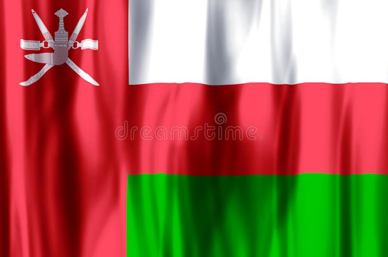 Oman. Stylish waving and closeup flag illustration. Perfect for background or texture purposes stock illustration