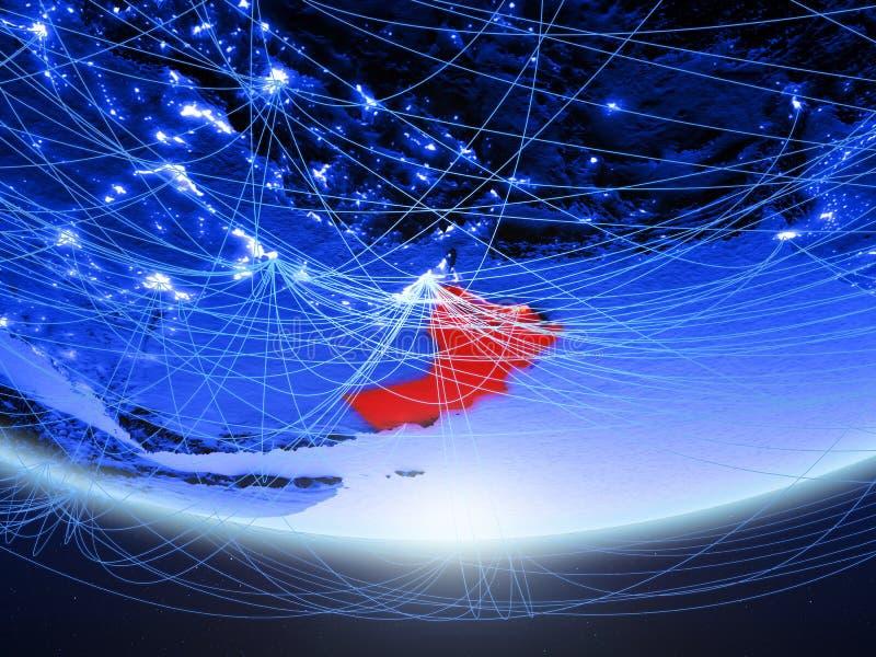 Oman van ruimte met netwerk royalty-vrije stock foto's