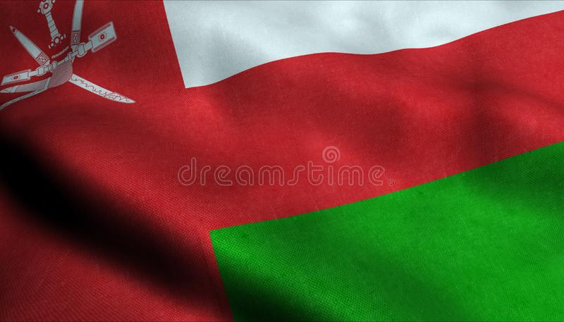 Oman vinkande flagga i 3D vektor illustrationer