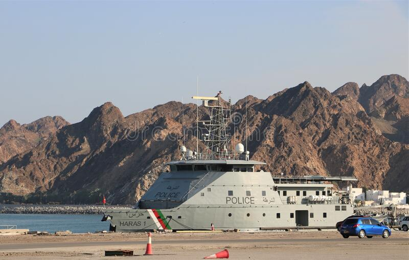 Oman water police vessel royalty free stock photo