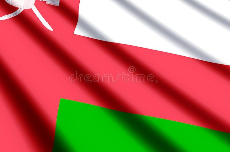 Oman. Waving and closeup flag illustration. Perfect for background or texture purposes stock illustration