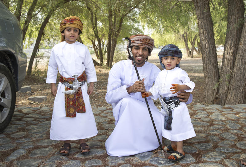 Omani family dressed for an occasion of Eid Al Fitr royalty free stock photo