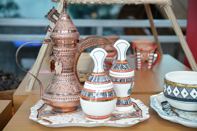 Omani koffiereeks stock foto's