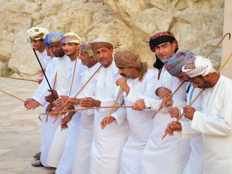 Omani traditionele dans en muziek, Arabische cultuur, traditie stock foto's