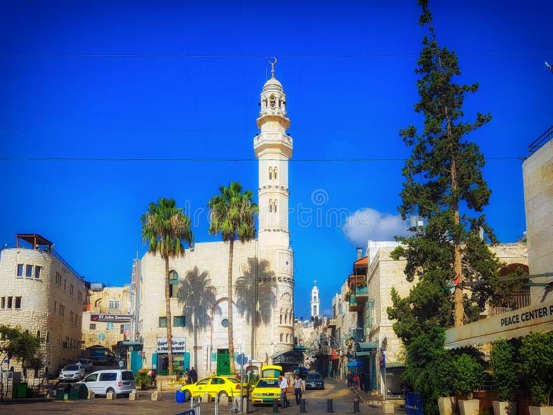 Omar Mosque Betlehem, Västbank, Mellanösten royaltyfria bilder