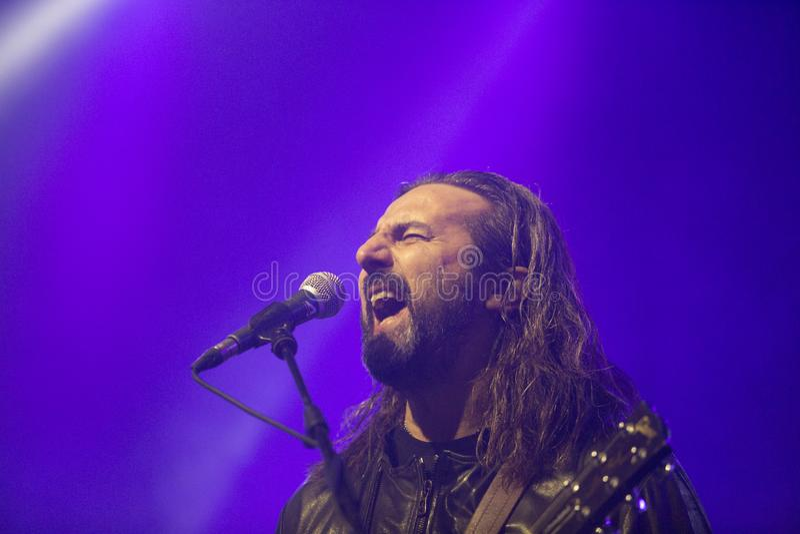 Omar Pedrini Timoria spielt live in Mailand lizenzfreies stockfoto