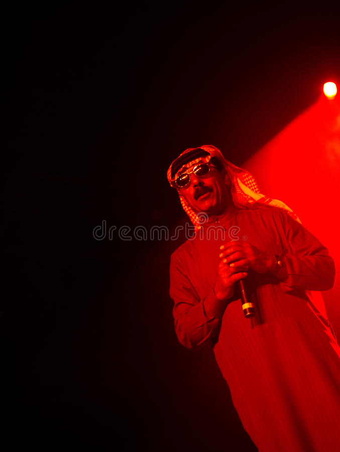 Omar Souleyman, a Syrian musical legend. Live on stage at Flow 2010 Festival on August 14, 2010 in Helsinki, Finland stock images