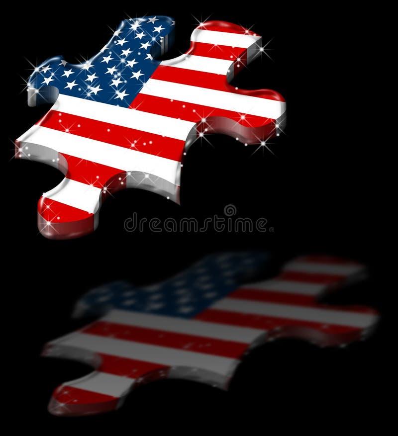 Ombra americana della stella di puzzle illustrazione di stock