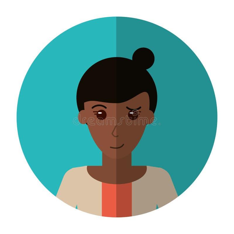 Ombra casuale del maglione dei capelli del panino della donna di afro illustrazione vettoriale