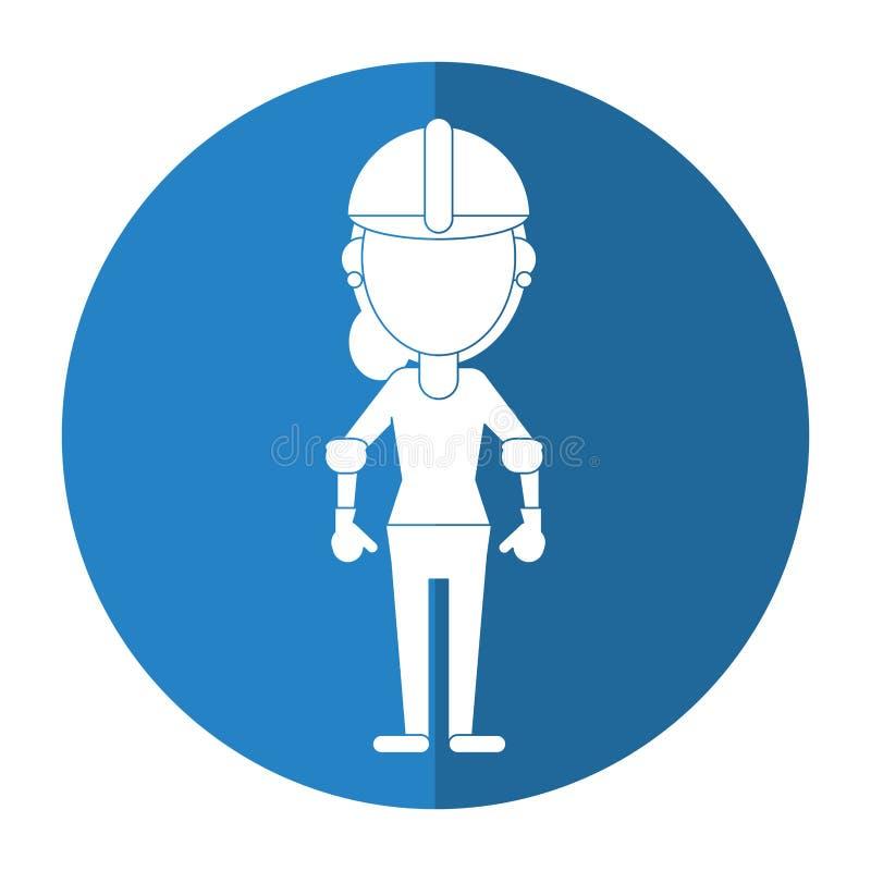 Ombra dei guanti del casco della donna della costruzione royalty illustrazione gratis