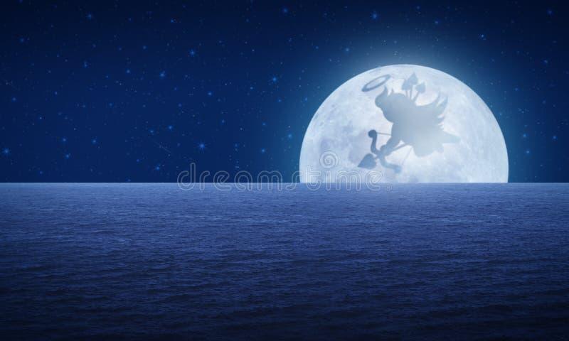 Ombra del cupido sul cielo notturno di fantasia della luna, concetto di amore illustrazione di stock