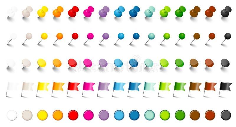 Ombra dell'insieme di colori di cinque dei perni degli aghi bandiere differenti e dei magneti quindici royalty illustrazione gratis