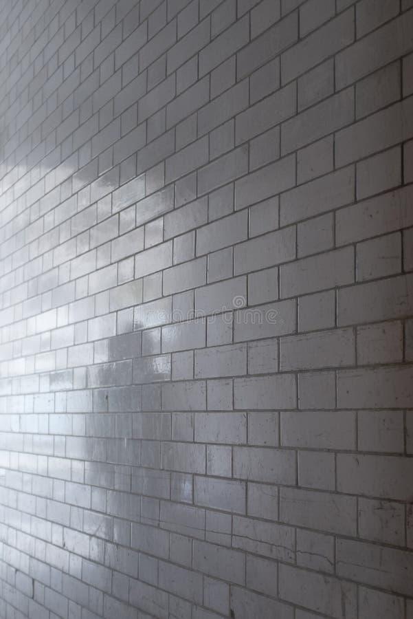 Ombra della persona riflessa in muro di mattoni lustrato bianco fotografie stock