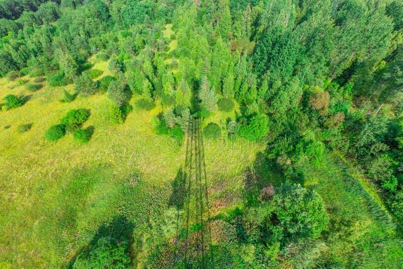 Ombra della torre di telecomunicazione con le antenne radiofoniche ed i riflettori parabolici sulla foresta verde con erba, cespu fotografia stock libera da diritti