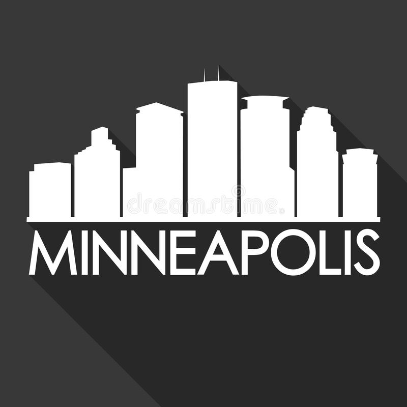 Ombra di Art Design Skyline Night Flat di vettore dell'icona della città di Minneapolis Minnesota U.S.A. royalty illustrazione gratis