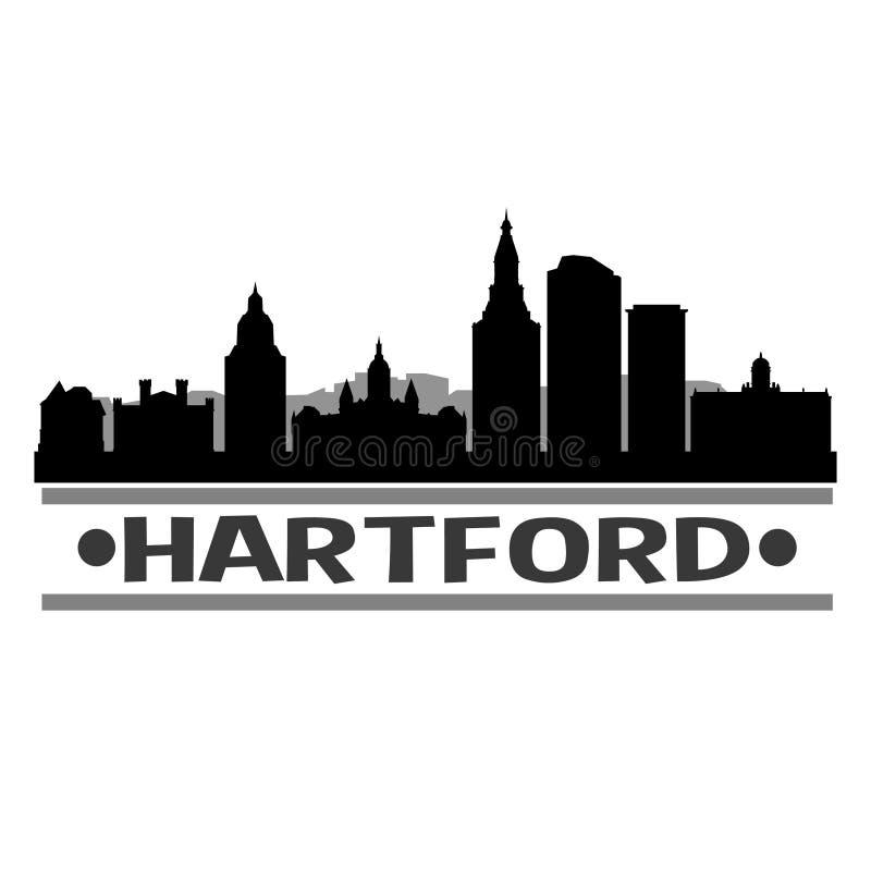 Ombra di Art Design Skyline Night Flat di vettore dell'icona di Hartford Connecticut Stati Uniti d'America U.S.A. royalty illustrazione gratis