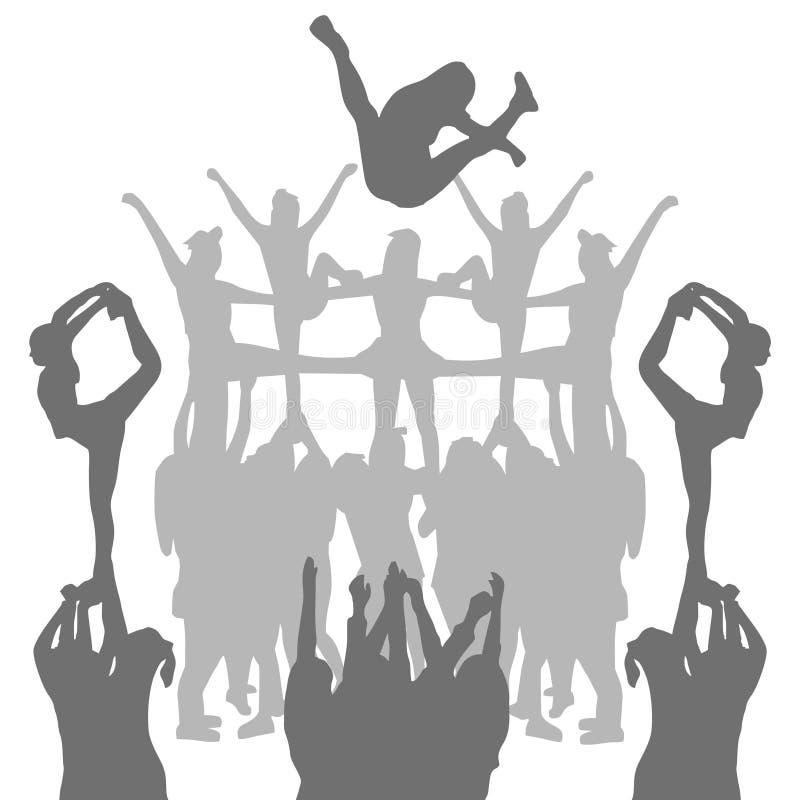 Ombra di forma della siluetta di acclamazione di vettore illustrazione di stock