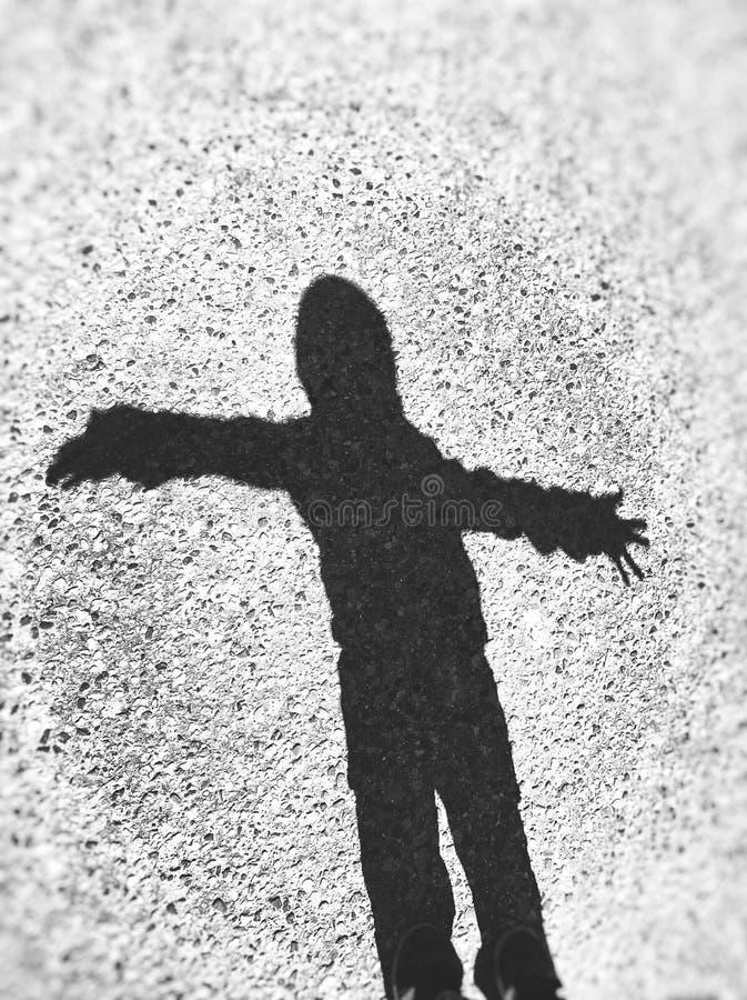 Ombra di giovane ragazzo, primavera, Michigan fotografia stock