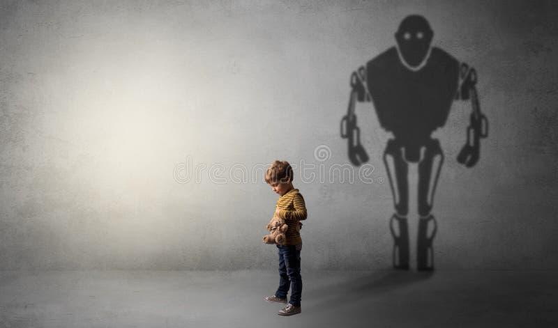 Ombra di Robotman di un ragazzino sveglio royalty illustrazione gratis