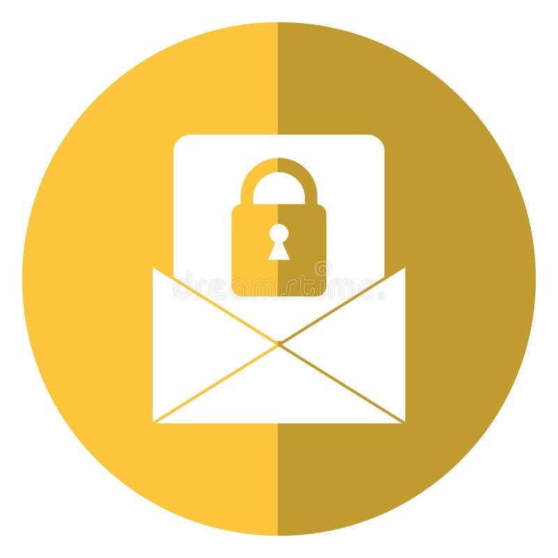 Ombra di tecnologia di sistema di sicurezza del messaggio di posta elettronica illustrazione di stock