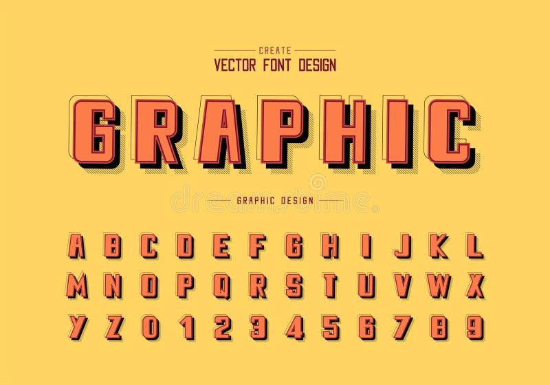 Ombra e linea vettore della fonte, carattere di alfabeto e progettazione audaci di numero, testo grafico su fondo illustrazione vettoriale